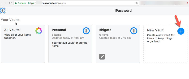 1Password create separate vaults for different groups  screenshot