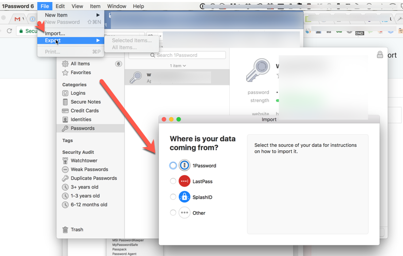 You can import data from other apps into 1Password.