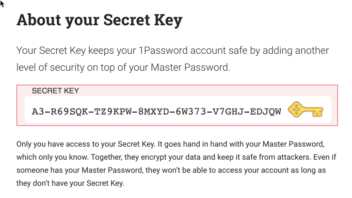 1Password issues a secret key