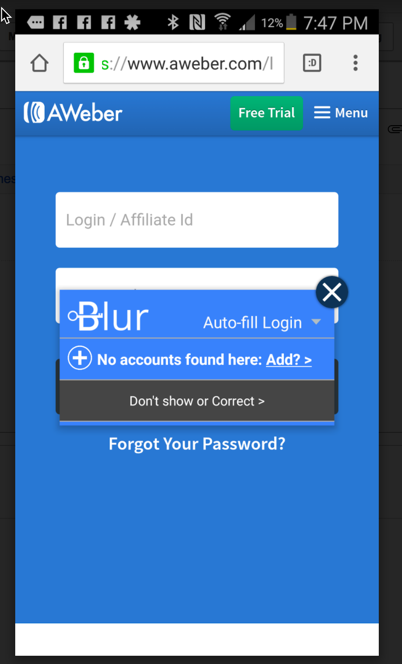 Blur Andriod Auto Fill
