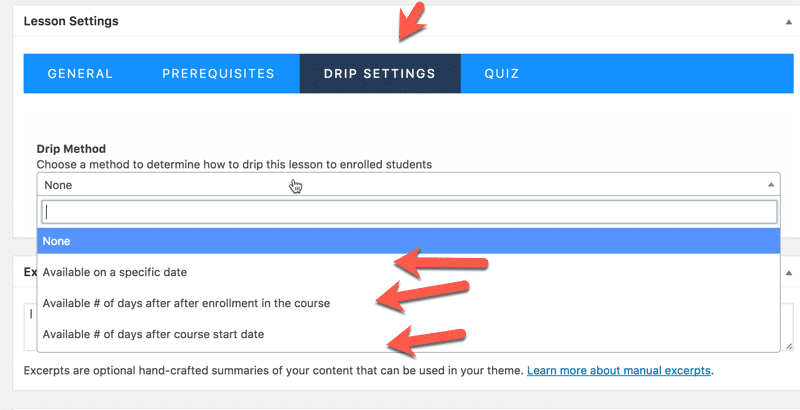 Membership Site Services Review - LifterLMS Drip Feed Settings