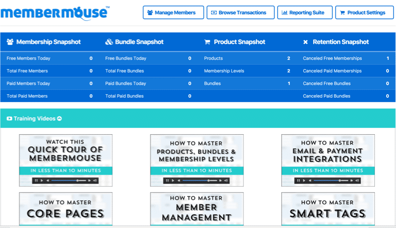 Membership Site Services Review - MemberMouse Admin Dashboard
