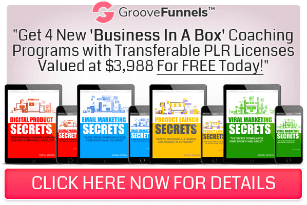 GrooveFunnels 4 new businesses in a box coaching program with PLR
